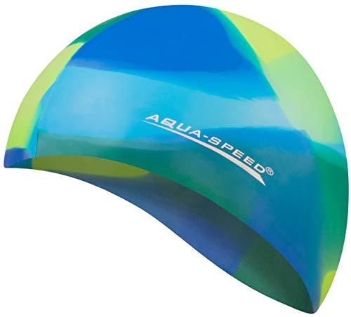 Aqua Speed® Set - BUNT Badekappe + Kleines Mikrofaser Handtuch | Silikon | Bademütze | Badehaube | Schwimmhaube | Erwachsene | Damen | Herren | Kinder, Kappen Designs:11. Bunt / 94