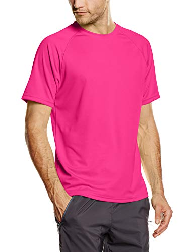 Fruit of the Loom Herren Performance T-Shirt, Rosa (Fuchsia), Gr. Large - Coole T-shirts Uk
