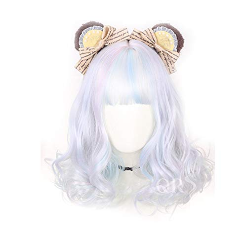 Lolita Perücke-Farbverlauf Edelsteinfarbe kurze lockige runde Gesicht Perücke für Frauen Cosplay Party Daily Use - 40cm MUTSALAK