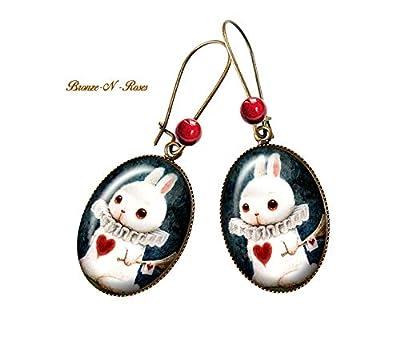 Boucles d'oreilles * Alice au pays des merveilles * Bijou fantaisie lapin blanc