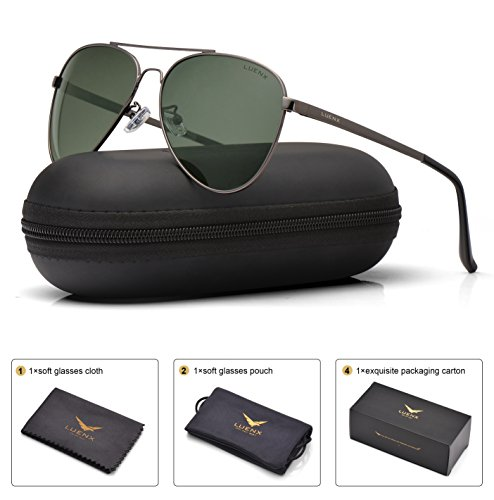 LUENX Men Women Aviator Sunglasses Grey Green Polarized Metal Frame - UV 400 60MM with case