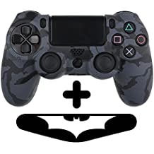 PlayStation 4 Controller Silikonhülle + Bonus LED Sticker | Sony PS4 Schutz Hülle Pad Case | Für eine coole Optik, besseren Schutz und mehr Spass beim spielen | Auch für PS4 Pro Pad & PS4 Slim Pad geeignet | HappyGaming (Dunkelblau Schwarz)