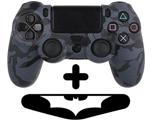 PlayStation 4 Controller Silikonhülle + Bonus LED Sticker | Sony PS4 Schutz Hülle Pad Case | Für eine coole Optik, besseren Schutz und mehr Spass beim spielen | Auch für PS4 Pro Pad & PS4 Slim Pad geeignet | HappyGaming (Dunkelblau Schwarz) (Monster Playstation Controller)