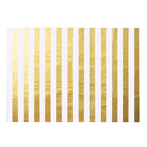 Shappy Stripes Seidenpapier Stripes Einwickelpapier, 28 Zoll x 20 Zoll, 30 Blätter (Gold und Weiß)