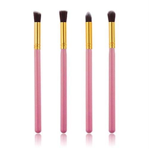 Honestyi Outil cosmétique de maquillage de 4Pcs Ensemble de pinceaux de mélange Fond de teint poudre à paupières (Or)