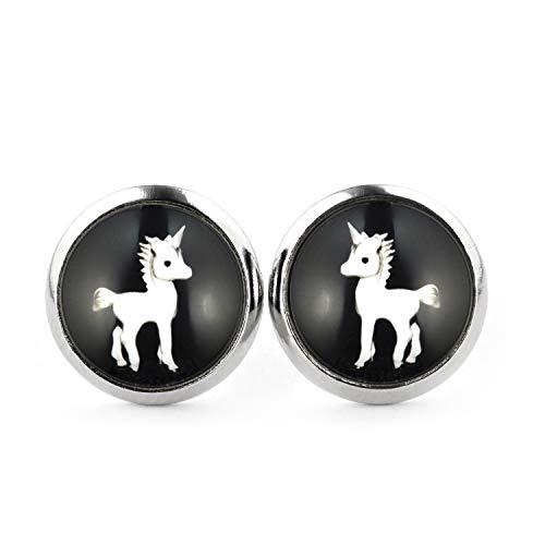 Zu Einfache Schnelle Machen Kostüm Und - SCHMUCKZUCKER Damen Ohrstecker Motiv Einhron Edelstahl Ohrringe Silber Schwarz 12mm