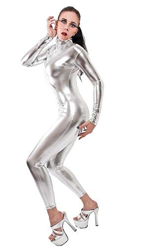 Queenshiny® lycra pieno corpo costume zentai argento xxl