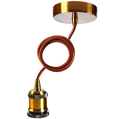 Suspension ampoule E27 métal antique - câble marron