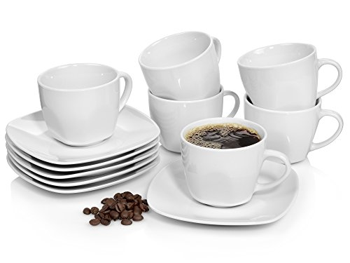 Sänger Kaffeetassen Set 'Bilgola' aus Porzellan 6er Set | Bestehend aus Tassen und Untertassen | Füllmenge 175 ml | Perfekt aufeinander abgestimmtes Set