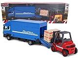 Toyland® - Set di Veicoli Load & Go in Metallo pressofuso - Camion Merci Scania con Carrello elevatore e Pallet - Giocattoli per Veicoli da Trasporto - Giocattoli per Ragazzi (Blu)