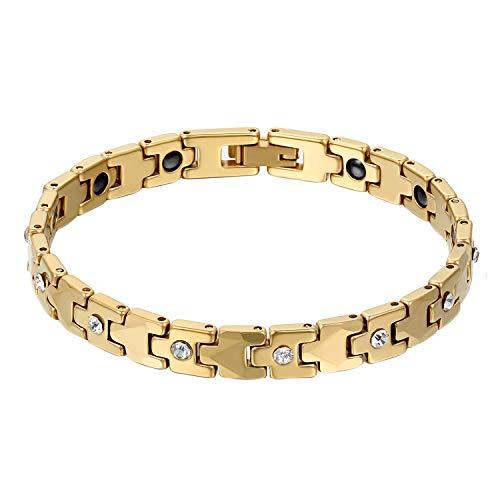 Damen Wolframcarbid Armband, Gold Biker Glieder Poliert Strass Magnetarmband Gesundheit Armbänder für Frauen