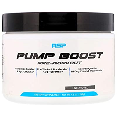 RSP Pump Boost - Stimulant Free Pre Workout & Nitric Oxide Booster, N.O. Boost for Enhanced Pumps, Energy Boost, and Improved Training Endurance, Blue Raspberry, 1 Month Supply from RSP Nutrition