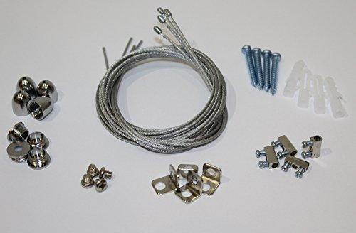 Seilabhängung für LED Panel 4-er Set Helitec *SET-6019* Deckenbefestigung Seil Befestigungsset Aufhängung