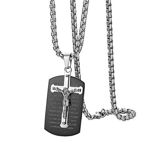Oidea Herren Edelstahl Kreuz Halskette Dogtag Anhänger, Vintage Biker Bibel Gebet Jesus Kruzifix Anhänger mit Ketten 56cm, Schwarz Silber