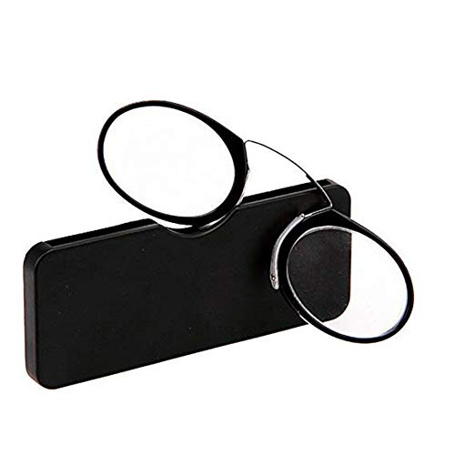 YUNCAT Bügellose Lesebrille Unisex transparent Pince Nez Stil Nase Stillstehen Kompakte Immer griffbereit Oval 5 Farben 6 Dioptrien, Schwarz, 2.5x