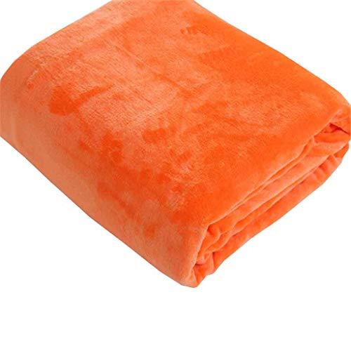 Decke, Massiv Coral Fleece Blanket, Lässige Decke, Sofa-Decke, Yoga Decke, Klimaanlage Decke. (Color : Orange, Size : 180cm*200cm)