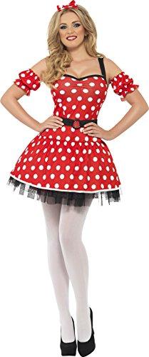 Smiffy's - Costume per travestimento da Minnie, Donna, incl. abito, copribraccia e cerchietto, colore: Rosso, M