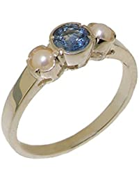 Solid 925 Sterling Silver Natural Sapphire & Cultured Pearl Womens Trilogy Ring