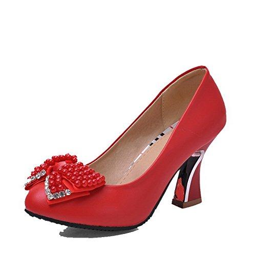 Puxar O Material Voguezone009 Senhoras Moles Em Torno De Salto Alto Toe Bombas Sapatos Incrustado Vermelho