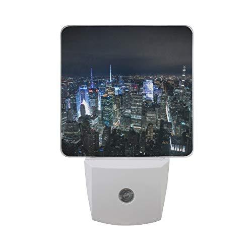 Nachtlicht New York Night Panorama von Manhattan, 2Pack Light UK-Stecker 0,5W Sensor Automatik Open Close Persönlichen Innen für Kids Baby Kinder Kinder Erwachsene Schlafzimmer Flur Geschenk Dekoration Nigh