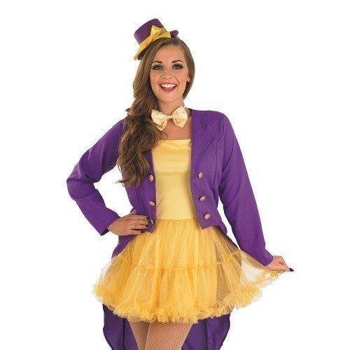 Damen Verkleidung Kostüm Williy Wonka 4-teilig Ringmaster Zirkus Halloween Verkleidung EU 36-50 Übergröße - Lila, EU 44-46 (Ringmaster Kostüme Damen)