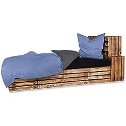 optidream 4-Teilige hochwertige Renforcé-Bettwäsche UNI-WENDE in anthrazit/blau 2 x 135x200 Bettbezug + 2 x 80x80 Kissenbezug, 100% Baumwolle + 1x GRATIS Baumwoll Kissenhülle (Anthrazit/Blau)