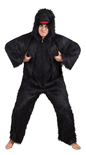 Karnevalsbud - Herren Halloween Karneval Kostüm Gorilla Set, Onesie, Komplett-Jumpsuit Affe, One Size, (Iron Set Kostüm Action Captain Man)