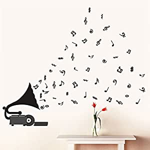 Buy Decals Design 39 Gramophone With Musical Notes 39 Wall Sticker Pvc Vinyl 70 Cm X 50 Cm Purple