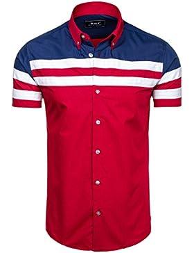BOLF Hombres Camisa Con Mangas Cortas y Camisa Con Cuello De Botones Camisa Del Ocio Slim Fit BOLF 6519