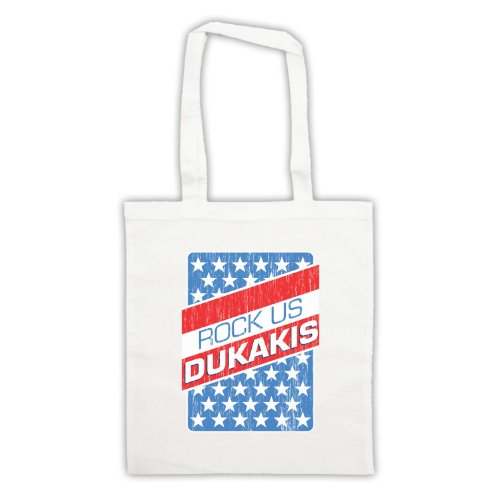 Rock Us Dukakis Slogan Tote Bag Bianco