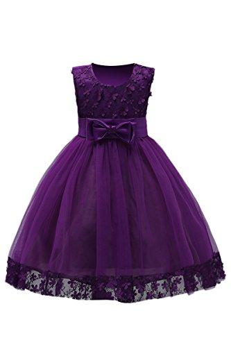 YMING Mädchen Sommer Kleid Festlich Blumenmädchenkleider 3D Blumen Schleife Festzug Party Kleid,Dunkel Violett,2-3 Jahre (2 Jahre Alt Kostüm Party)