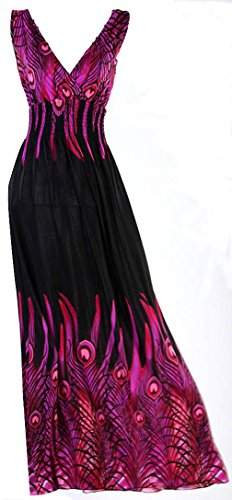 V Ärmelloses Peacock Langes Kleid für Frauen Mädchen Party Casual Wear 3Farben, violett ()