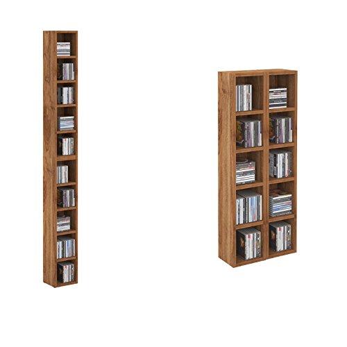 CD DVD Regal Standregal Medienregal CHART in nussbaum mit 10 Fächern für bis zu 160 CDs, 20x186,5 cm (Breite x Höhe)