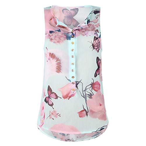 Momoxi Frauen Sommer ärmellose lose Taste gedruckt Chiffon Top Bluse,Camisole Bekleidung ärmelloses Sommertop Grün 5XL -