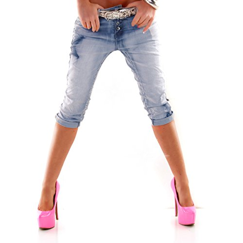 Designer Damen Shorts Jeans Bermudas Boyfriend Chino SIDE STAR Denim Washed