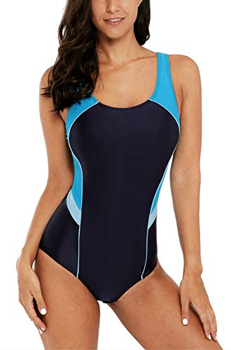 V FOR CITY Badeanzug Damen Swimmsuit Bauchweg Sportbadeanzüge Push Up One Piece L
