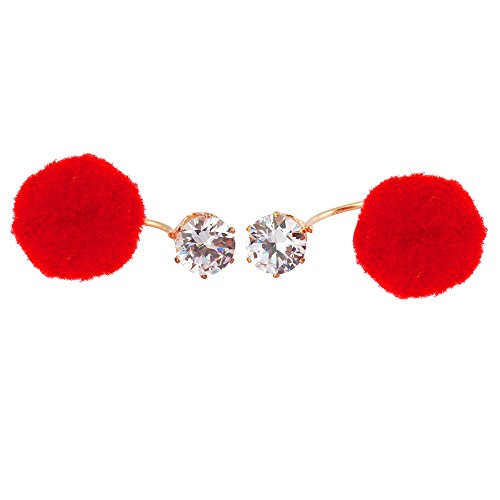Stripes Trendy Pom Poms Earings Red Colour With Crystal Fashion Jewelry Double Sided Stud Earrings For Women / Girls