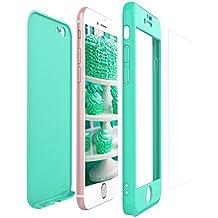 Yokata Coque iPhone 6S Plus, iPhone 6 Plus (5.5 pouces) Étui Rigide 360 Degres + Verre Trempé Etui iPhone 6S Plus / 6 Plus Antichoc Ultra Fine Mince Avant Arrière Supreme Bumper Case Hard Cover Housse de Protection - Menthe Vert