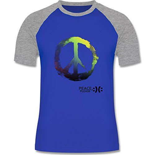 Shirtracer Statement Shirts - Frieden, Bitte - Peace, Please - Peacesymbol Bunt - Herren Baseball Shirt Royalblau/Grau meliert