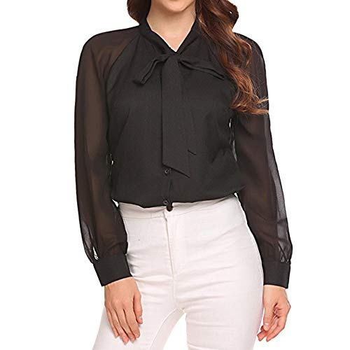 Ashui Damen Chiffonblusen Chiffon Tuniken Langarmshirts Spitzenblusen Tops Oberteile T-Shirt mit Schleife Bindegürtel Button-down Blusenshirt Transparent Mesh Frauen Tops T-Shirt - Top Empire State