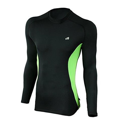ROUGH RADICAL Herren langarm Funktionsshirt Laufshirt FURY DUO LS (M, schwarz/grün) (Ls-laufshirt)