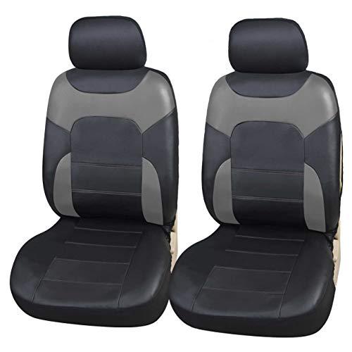 Upgrade4cars Coprisedili Anteriori Auto Universali Eco-Pelle Nero Grigio Set Copri-Sedile Universale per Guidatore e Passeggero con Airbag Laterali Accessori Auto Interno