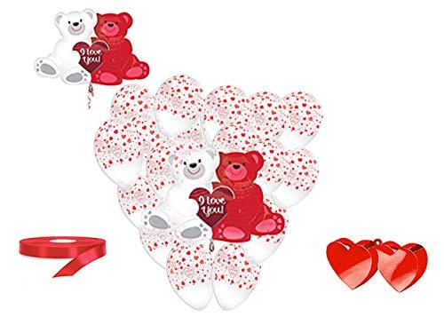 San valentino pallone foil cuore supershape forma cuore kit bouquet centrotavola festa amore innamorati - cdc - (1 pallone supershape orsi,10 palloncini, 1 pesetto,1 nastro rosso )