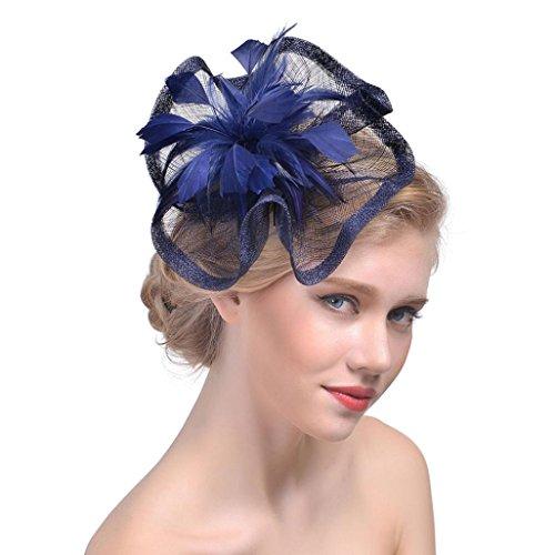 en Lovely Mesh Bänder Hat Haarband mit Clip für Hochzeit ~ Cocktail ~ Party ~ TEA PARTY ~ ROYAL Ascot Kirche, damen, 2-1, navy ()