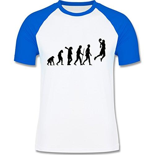 Shirtracer Evolution - Basketball Evolution - Herren Baseball Shirt Weiß/Royalblau