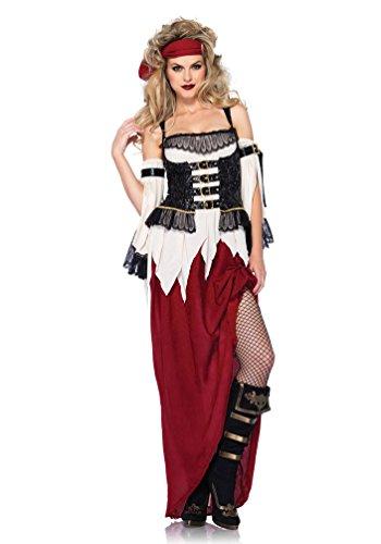 Karneval Klamotten Piratenkostüm sexy Damen Kostüm Pirat Damen Piratin lang mit Stirnband Karneval Damenkostüm Größe (Herren Piraten Leg Kostüm Avenue)