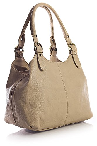 Big Handbag Shop, Borsa a mano donna (Mittlere Beige - Kontrastfarbigen Nähten)
