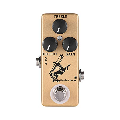 Muslady MOSKY Golden Horse Guitar Overdrive Efecto Pedal Full Metal Shell True Bypass (Gold)