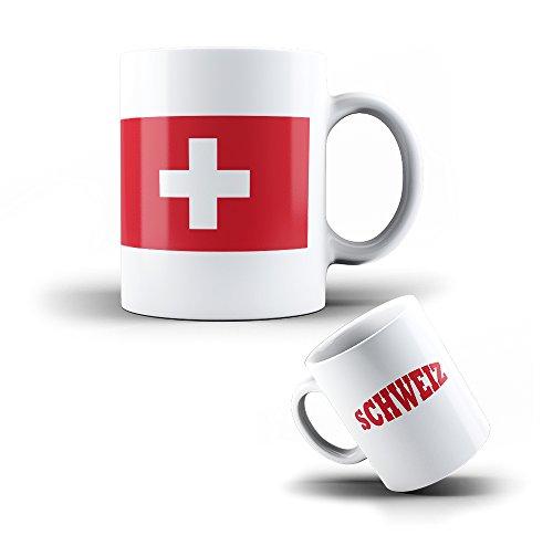 KOO Interactive - Kaffee Becher Mug Schweiz aus Keramik Flagge - Tasse mit Fahne