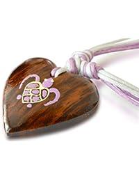 Halskette Holz Herz Schildkröte weiß rosa, Handarbeit
